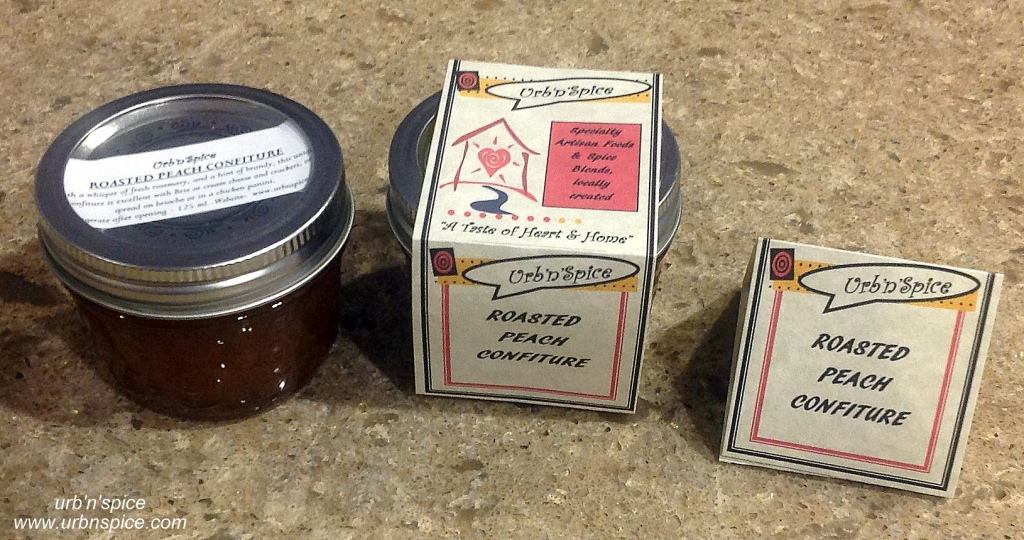 Peach Confiture and explanation of tent card