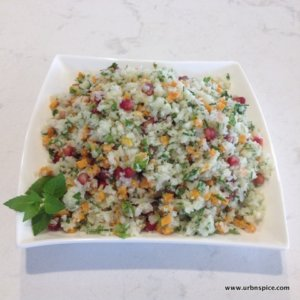 Cauliflower Tabbouleh with Pomegranate Seeds | urbnspice.com